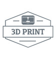 technology 3d printing logo simple gray style vector image vector image