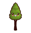tree nature symbol cute kawaii cartoon vector image vector image