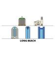 united states long beach flat landmarks vector image vector image