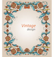 Vintage frame with decorative flowers vector image vector image
