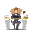 Worker works at an office and smiling vector image vector image