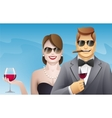 elegance smiling man and woman with glasses of vector image