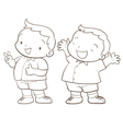 cute cartoon boy character line art vector image