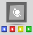 icon world sign on original five colored buttons vector image