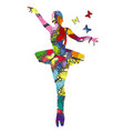 abstract ballerina patterned in colored vector image