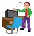 angry man pounding on a tv vector image vector image