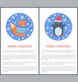 animal set of icons fox in sweater penguin in hat vector image