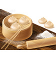 background with chinese dumplings vector image