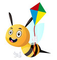 bee holding a kite on white background vector image