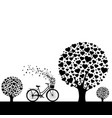black wood with hearts with bicycle vector image vector image