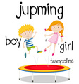 Boy and girl jumping on trampoline vector image vector image