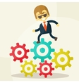 businessman goes to success and gears vector image vector image