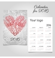 Calendar with stylized red coral heart vector image