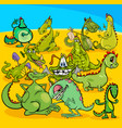 cartoon dragons fantasy characters group vector image vector image