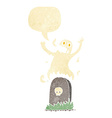 cartoon ghost rising from grave with speech bubble vector image vector image