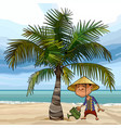 cartoon man watering a palm tree on ocean vector image