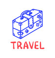 cartoon travel suitcase doodle lettering for vector image vector image