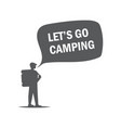 concept for a camping monochrome vector image vector image