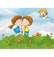 Couple in the garden with Mr cupid vector image