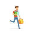 crazy man with paper shopping bags shopaholic man vector image vector image