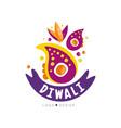 diwali logo design hindu festival label poster vector image vector image