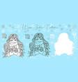 doodle set with virgo zodiac symbol girl vector image
