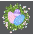 Easter holiday card with colorful eggs and wreath vector image