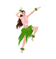Ethnic dance of hawaiian girl vector image