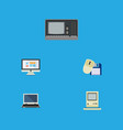 flat icon laptop set of computing computer mouse vector image vector image
