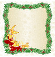frame made yew and poinsettia vector image vector image
