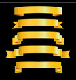 gold ribbons on black background vector image