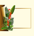 golden frame with red flowers and green leaves vector image vector image