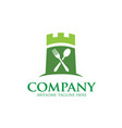 green castle and food logo vector image vector image