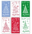 Greeting cardsChristmas treedecorations vector image