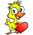 Hand-drawn of an cute chicken holding a heart vector image vector image