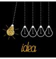Hanging gold glitter light bulbs Dash line vector image
