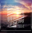 Happy summer poster with a colorful sunset blurred vector image