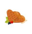 heart shaped waffles with honey ripe strawberry vector image