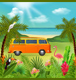 hippie van holidays composition vector image vector image