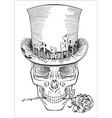 human skull in a top hat vector image vector image