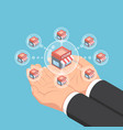 isometric businessman hands holding store network vector image vector image