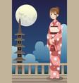 japanese kimono girl vector image