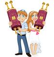 Jewish Boy And Girl Hold Torah For Bar Bat Mitzvah vector image vector image