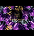 luxury card with purple tulip flowers vector image vector image