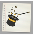 Magic hat with magic wand sketch vector image vector image