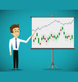 man shows a financial graphs and charts vector image vector image