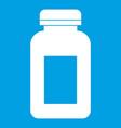 medicine jar icon white vector image vector image
