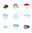 met office icons set flat style vector image vector image