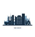 munich skyline monochrome silhouette vector image vector image