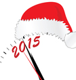 new year 2015 with red hat color vector image vector image